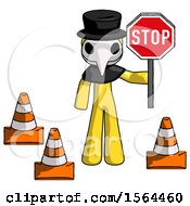 Yellow Plague Doctor Man Holding Stop Sign By Traffic Cones Under Construction Concept