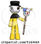 Yellow Plague Doctor Man Holding Jester Staff