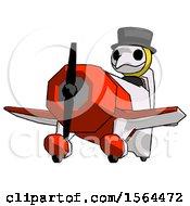 Yellow Plague Doctor Man Flying In Geebee Stunt Plane Viewed From Below