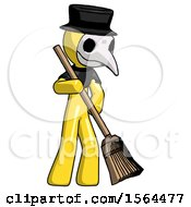Yellow Plague Doctor Man Sweeping Area With Broom