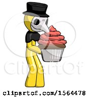 Yellow Plague Doctor Man Holding Large Cupcake Ready To Eat Or Serve