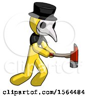 Yellow Plague Doctor Man With Ax Hitting Striking Or Chopping