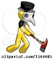 Yellow Plague Doctor Man Striking With A Red Firefighters Ax