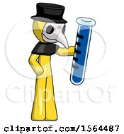 Yellow Plague Doctor Man Holding Large Test Tube