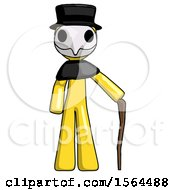 Yellow Plague Doctor Man Standing With Hiking Stick