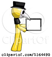 Yellow Plague Doctor Man Show Tablet Device Computer To Viewer Blank Area