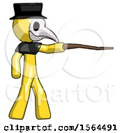 Yellow Plague Doctor Man Pointing With Hiking Stick