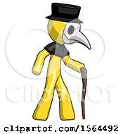 Yellow Plague Doctor Man Walking With Hiking Stick