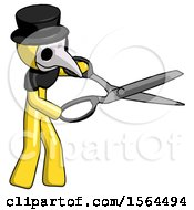 Yellow Plague Doctor Man Holding Giant Scissors Cutting Out Something