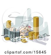 Greedy Male Boss Slumped Down At His Desk And Smoking A Cigar In His City Of Coins And Cash Clipart Illustration