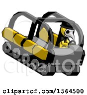 Yellow Plague Doctor Man Driving Amphibious Tracked Vehicle Top Angle View