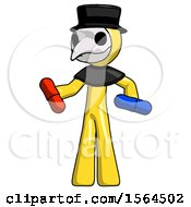 Yellow Plague Doctor Man Red Pill Or Blue Pill Concept