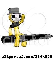 Yellow Plague Doctor Man Riding A Pen Like A Giant Rocket