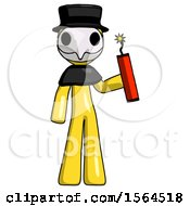 Yellow Plague Doctor Man Holding Dynamite With Fuse Lit