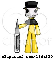 Yellow Plague Doctor Man Standing With Large Thermometer
