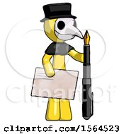 Yellow Plague Doctor Man Holding Large Envelope And Calligraphy Pen