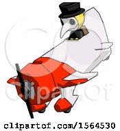 Yellow Plague Doctor Man In Geebee Stunt Plane Descending View