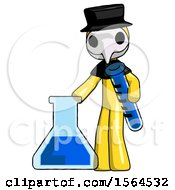 Yellow Plague Doctor Man Holding Test Tube Beside Beaker Or Flask