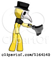 Yellow Plague Doctor Man Dusting With Feather Duster Downwards