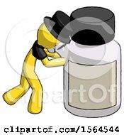 Yellow Plague Doctor Man Pushing Large Medicine Bottle