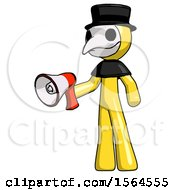 Yellow Plague Doctor Man Holding Megaphone Bullhorn Facing Right