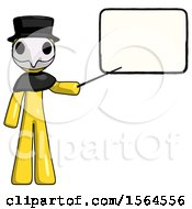 Yellow Plague Doctor Man Giving Presentation In Front Of Dry Erase Board