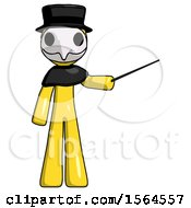 Yellow Plague Doctor Man Teacher Or Conductor With Stick Or Baton Directing