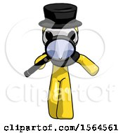 Yellow Plague Doctor Man Looking Down Through Magnifying Glass