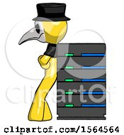 Yellow Plague Doctor Man Resting Against Server Rack