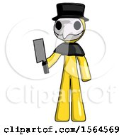 Yellow Plague Doctor Man Holding Meat Cleaver