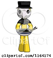 Yellow Plague Doctor Man Serving Or Presenting Noodles