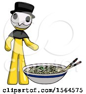 Yellow Plague Doctor Man And Noodle Bowl Giant Soup Restaraunt Concept