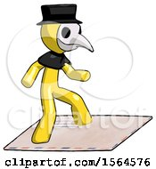 Yellow Plague Doctor Man On Postage Envelope Surfing