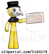 Yellow Plague Doctor Man Holding Large Envelope