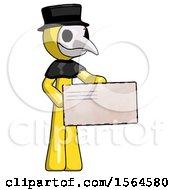Yellow Plague Doctor Man Presenting Large Envelope