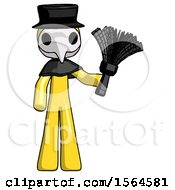 Yellow Plague Doctor Man Holding Feather Duster Facing Forward