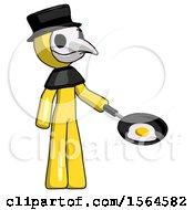 Yellow Plague Doctor Man Frying Egg In Pan Or Wok Facing Right