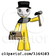 Yellow Plague Doctor Man Holding Tools And Toolchest Ready To Work