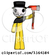 Yellow Plague Doctor Man Holding Up Red Firefighters Ax