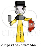 Yellow Plague Doctor Man Holding Large Steak With Butcher Knife
