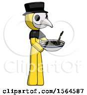 Yellow Plague Doctor Man Holding Noodles Offering To Viewer