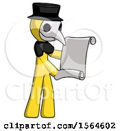 Yellow Plague Doctor Man Holding Blueprints Or Scroll