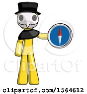 Yellow Plague Doctor Man Holding A Large Compass