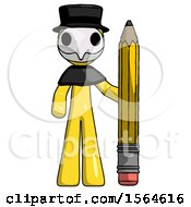 Yellow Plague Doctor Man With Large Pencil Standing Ready To Write