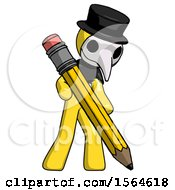 Yellow Plague Doctor Man Writing With Large Pencil