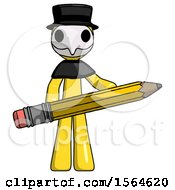 Yellow Plague Doctor Man Writer Or Blogger Holding Large Pencil