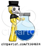 Yellow Plague Doctor Man Standing Beside Large Round Flask Or Beaker