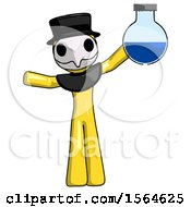 Yellow Plague Doctor Man Holding Large Round Flask Or Beaker