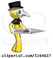 Yellow Plague Doctor Man Walking With Large Thermometer