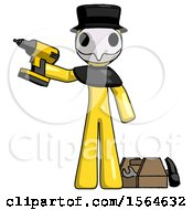 Yellow Plague Doctor Man Holding Drill Ready To Work Toolchest And Tools To Right